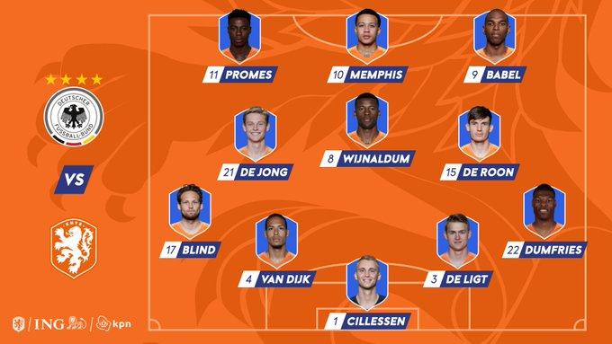 Opstelling Nederlands elftal tegen Duitsland