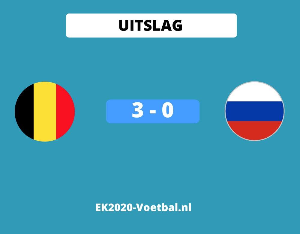 belgie wint 3-0 van Rusland op EK 2021