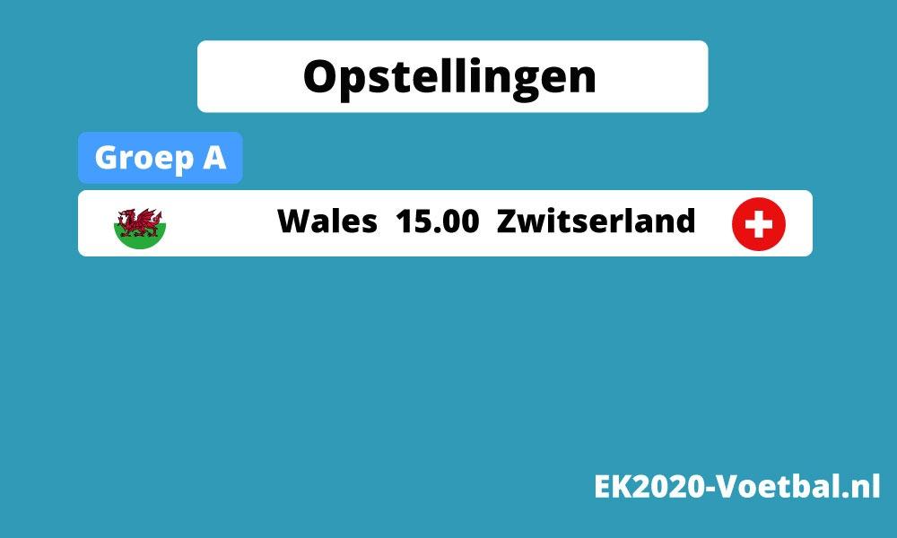 opstelling Wales Zwitserland EK 2021