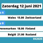 programma ek voetbal vandaag 12 juni 2021