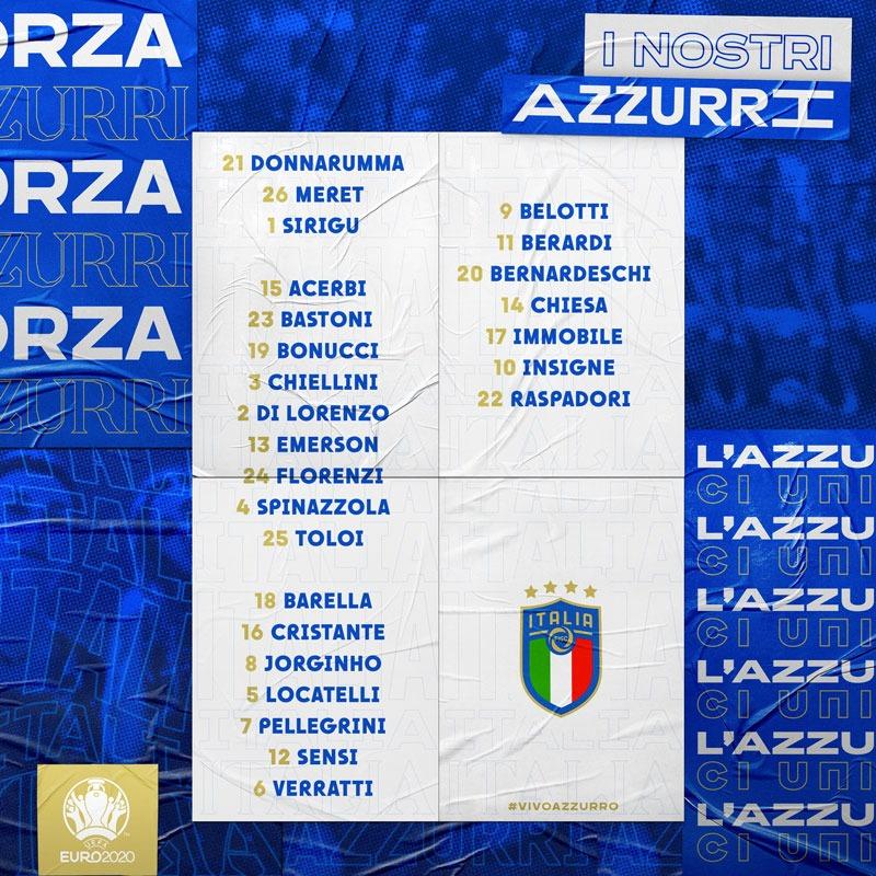 selectie italie ek 2021 plus rugnummers