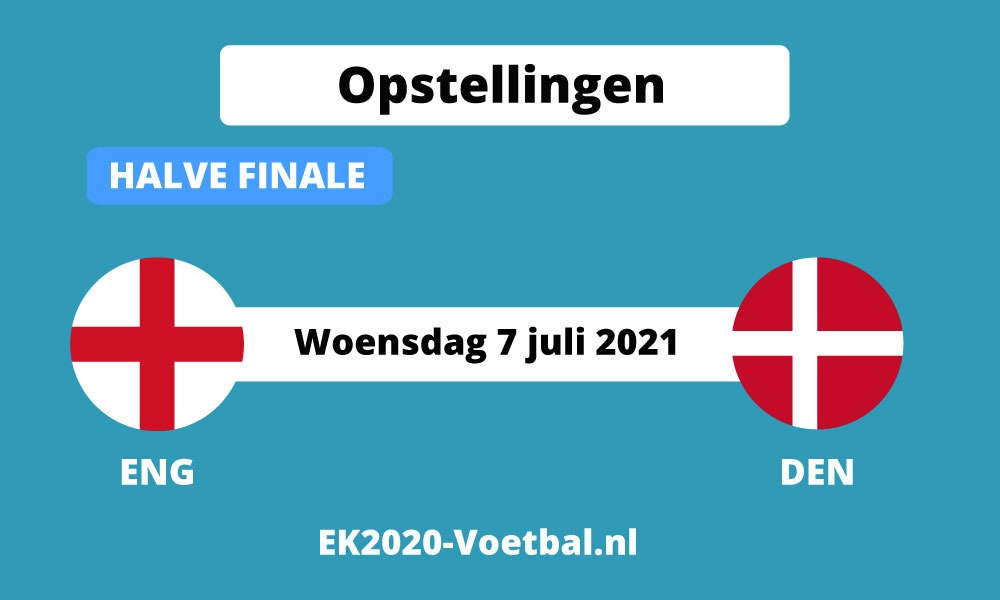opstelling engeland Denemarken halve finale ek voetbal 2021