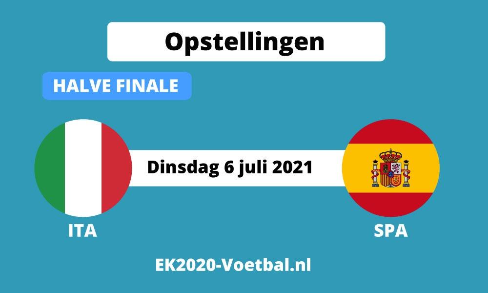 opstelling Italie Spanje halve finale ek voetbal 2021